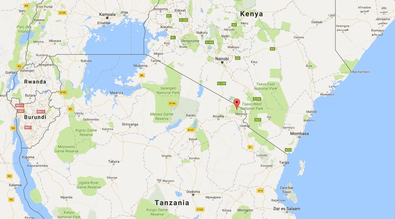 Kenya on world map - World map showing Kenya (Eastern Africa - Africa)