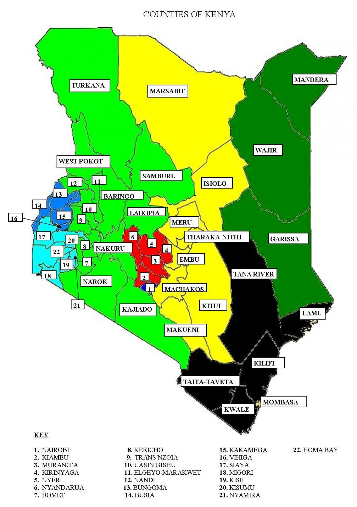 map of 47 counties in Kenya