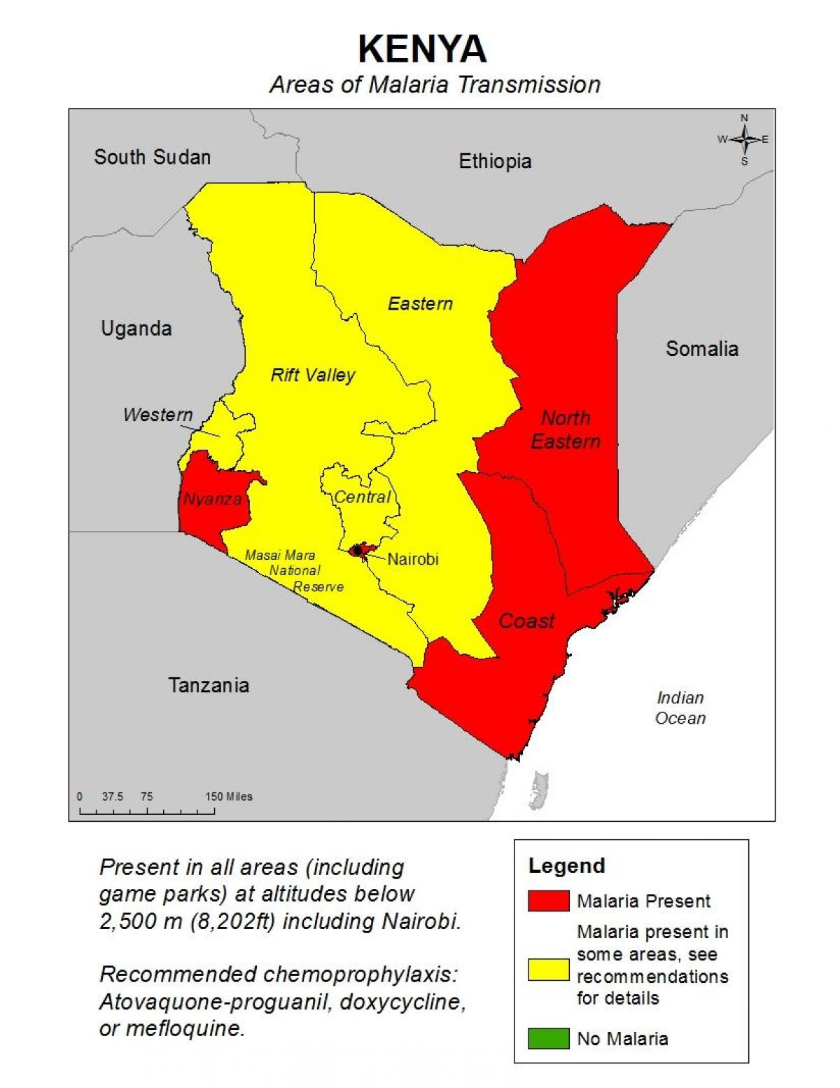 map of Kenya malaria
