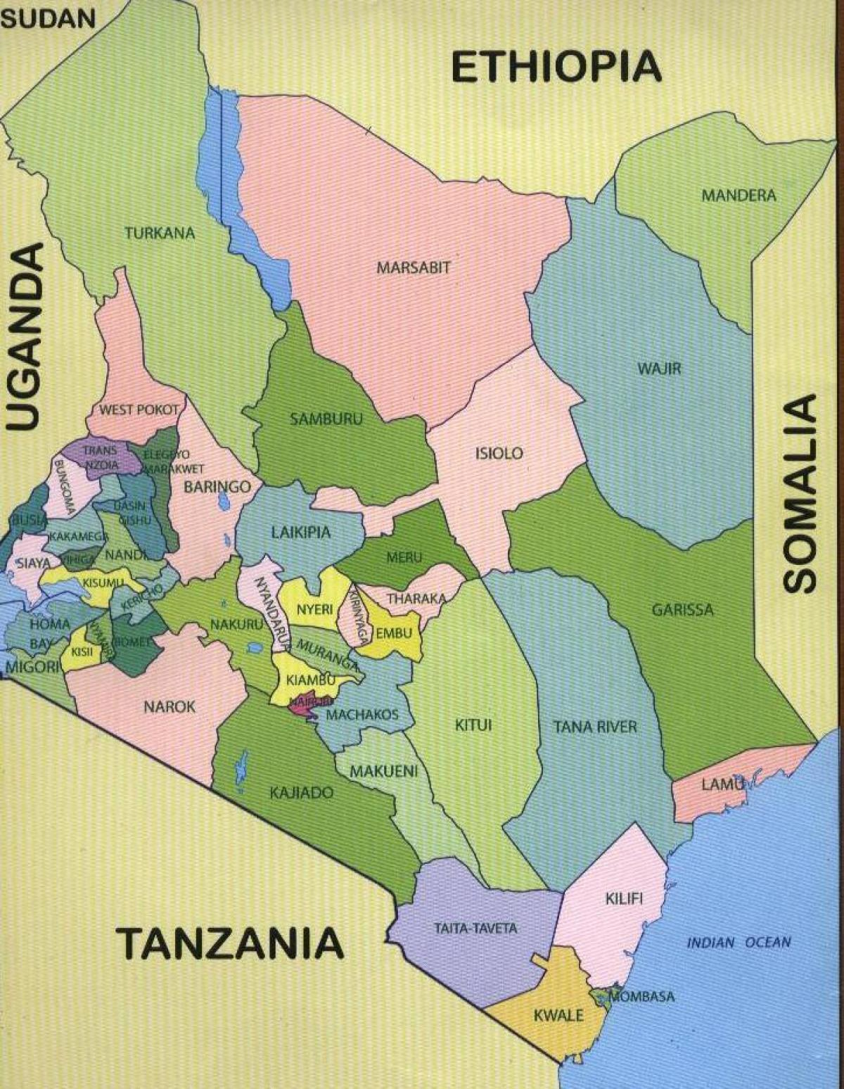 counties of Kenya map