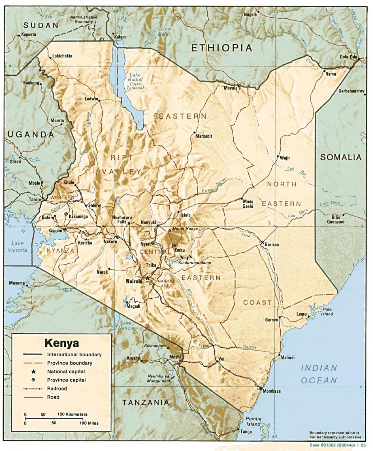 map of Kenya showing major towns