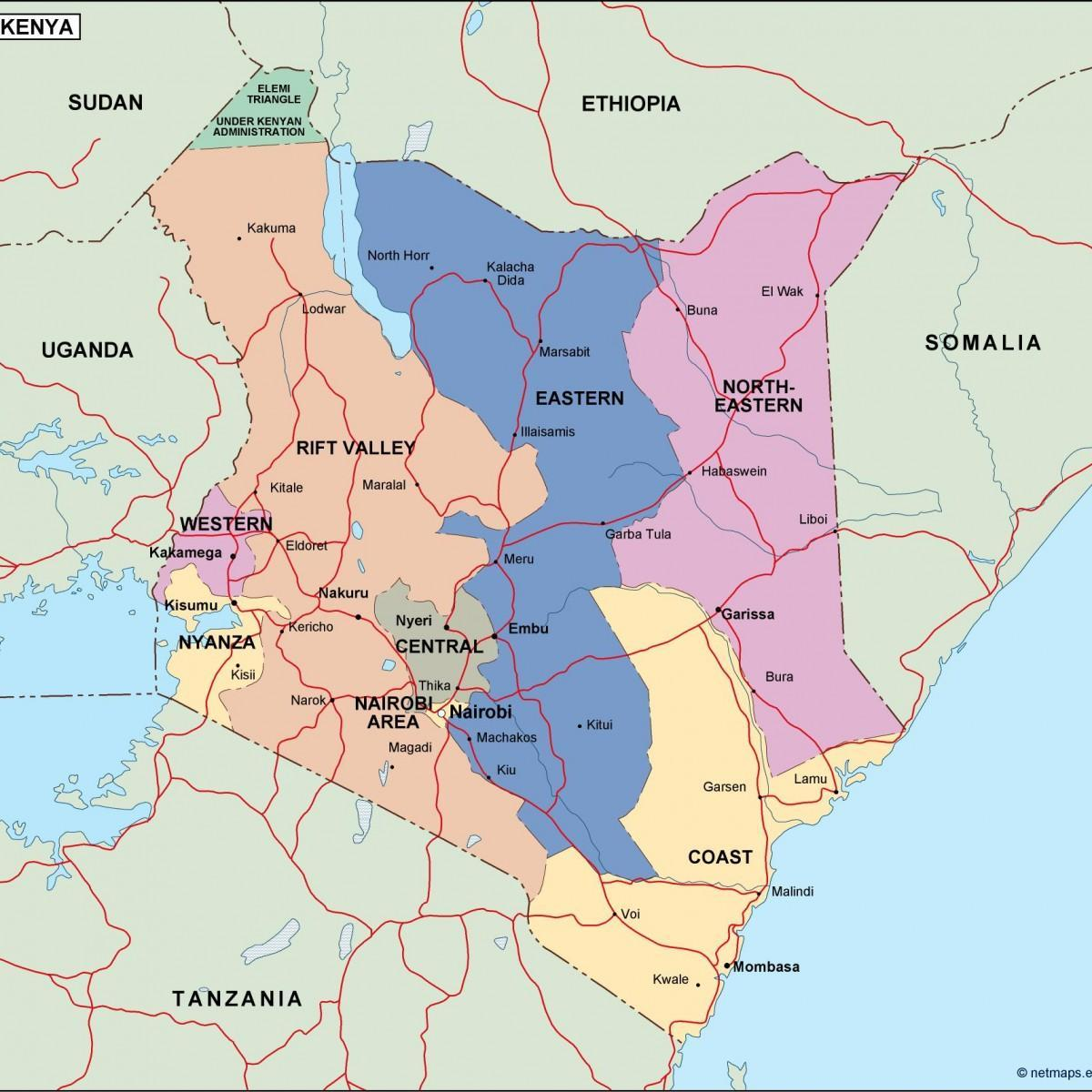 map of political map of Kenya