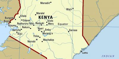 Map of Kenya with cities